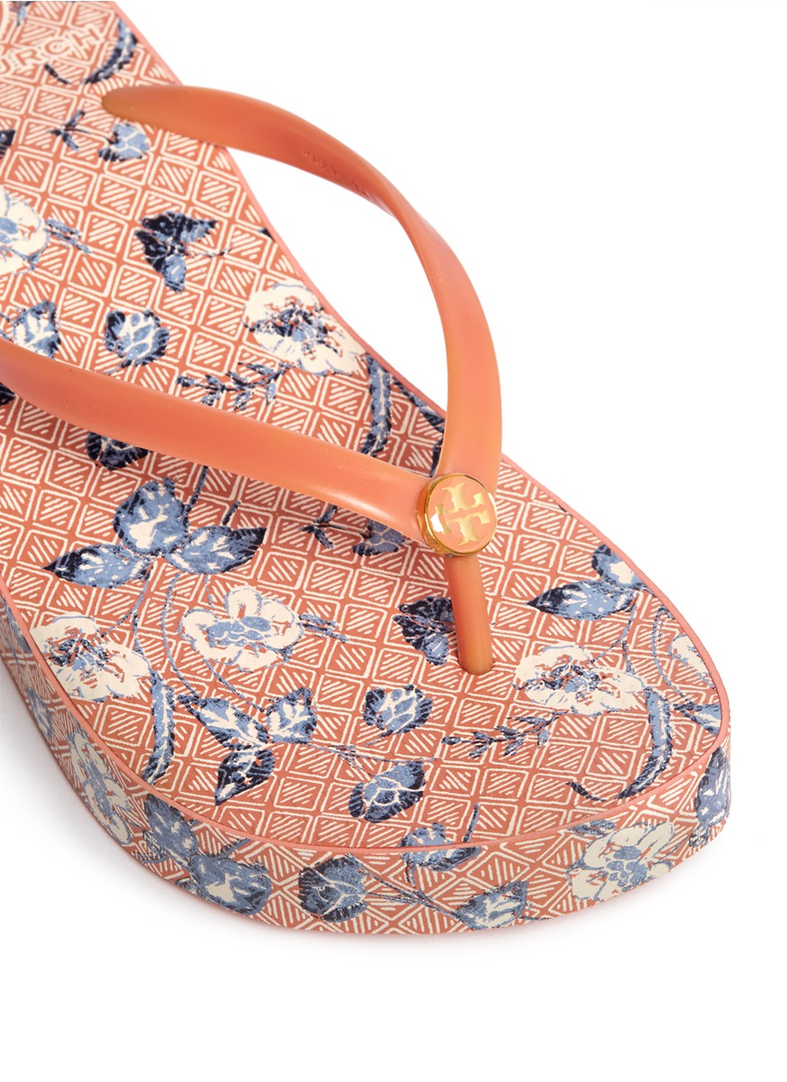 4b4f61193434f3 Lyst - Tory Burch Thandie Wedge Flip-flops in Orange