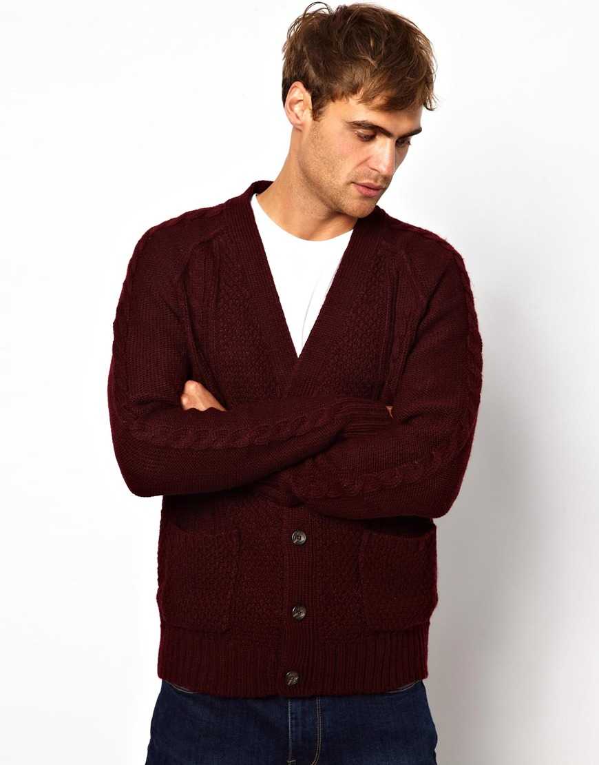 True religion Cable Cardigan in Red in Purple for Men | Lyst