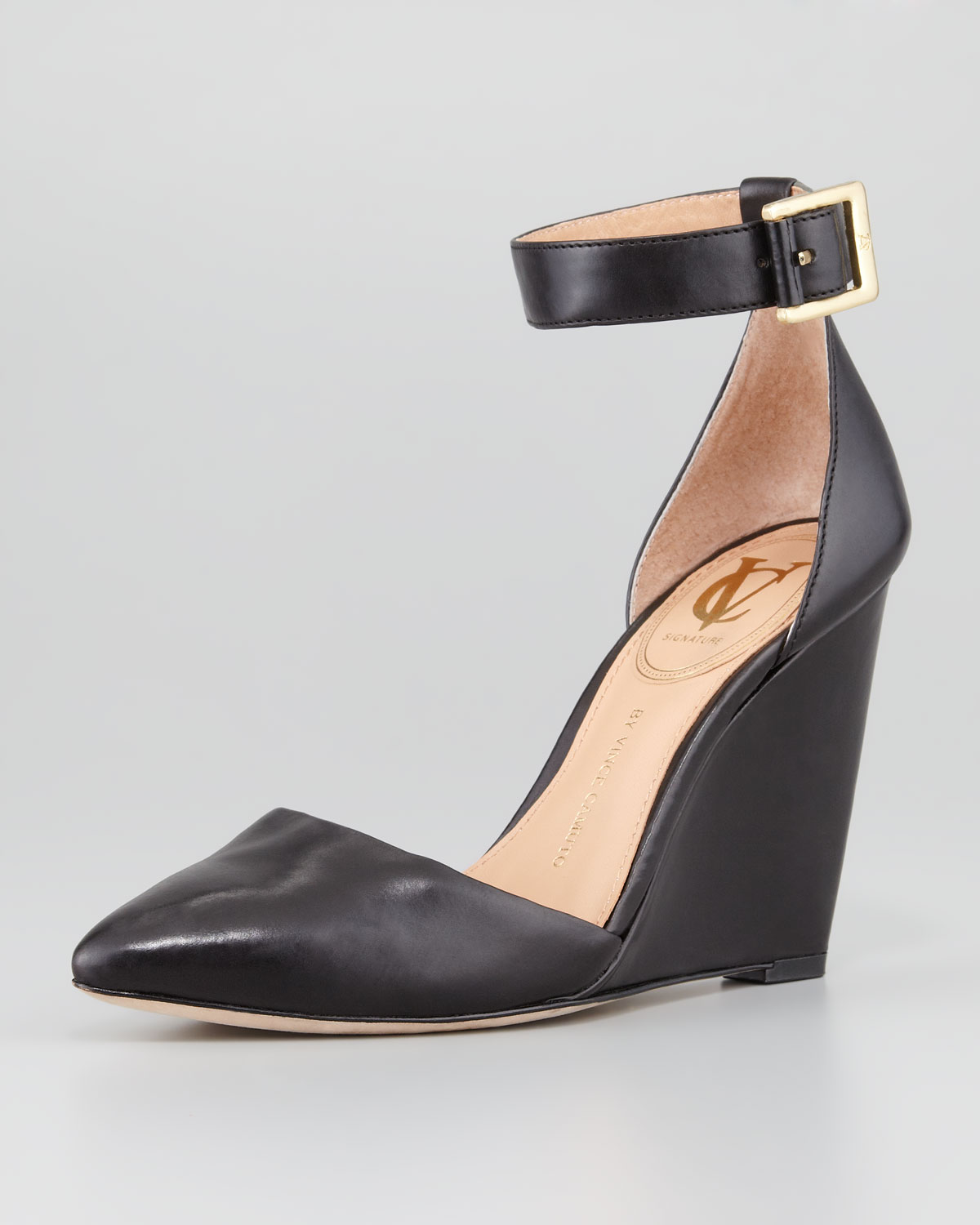 c54aa0fae9f Lyst - Vc Signature Solanna Pointytoe Anklestrap Wedge Black in Black