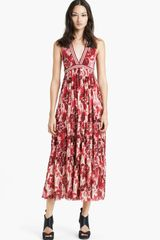 Jean Paul Gaultier Fuzzi Rose Print Double Layered Tulle Maxi Dress - Lyst
