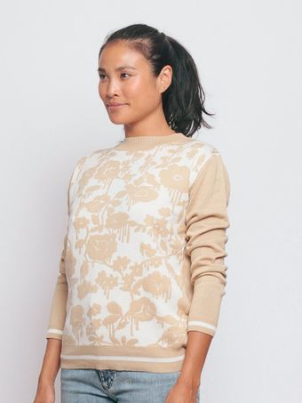 Karen Walker Bleeding Rose Sweater Tan with Cream - Lyst