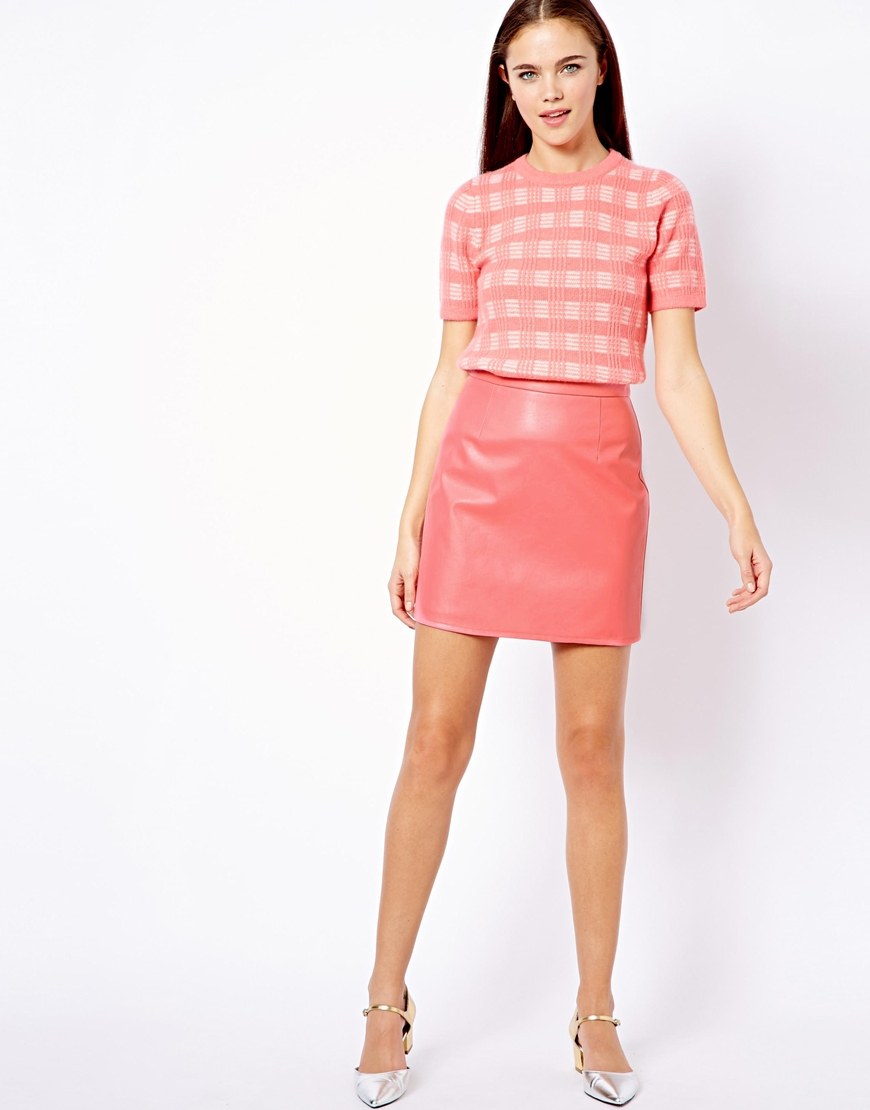 Little mistress Leather Look Mini Skirt in Pink | Lyst