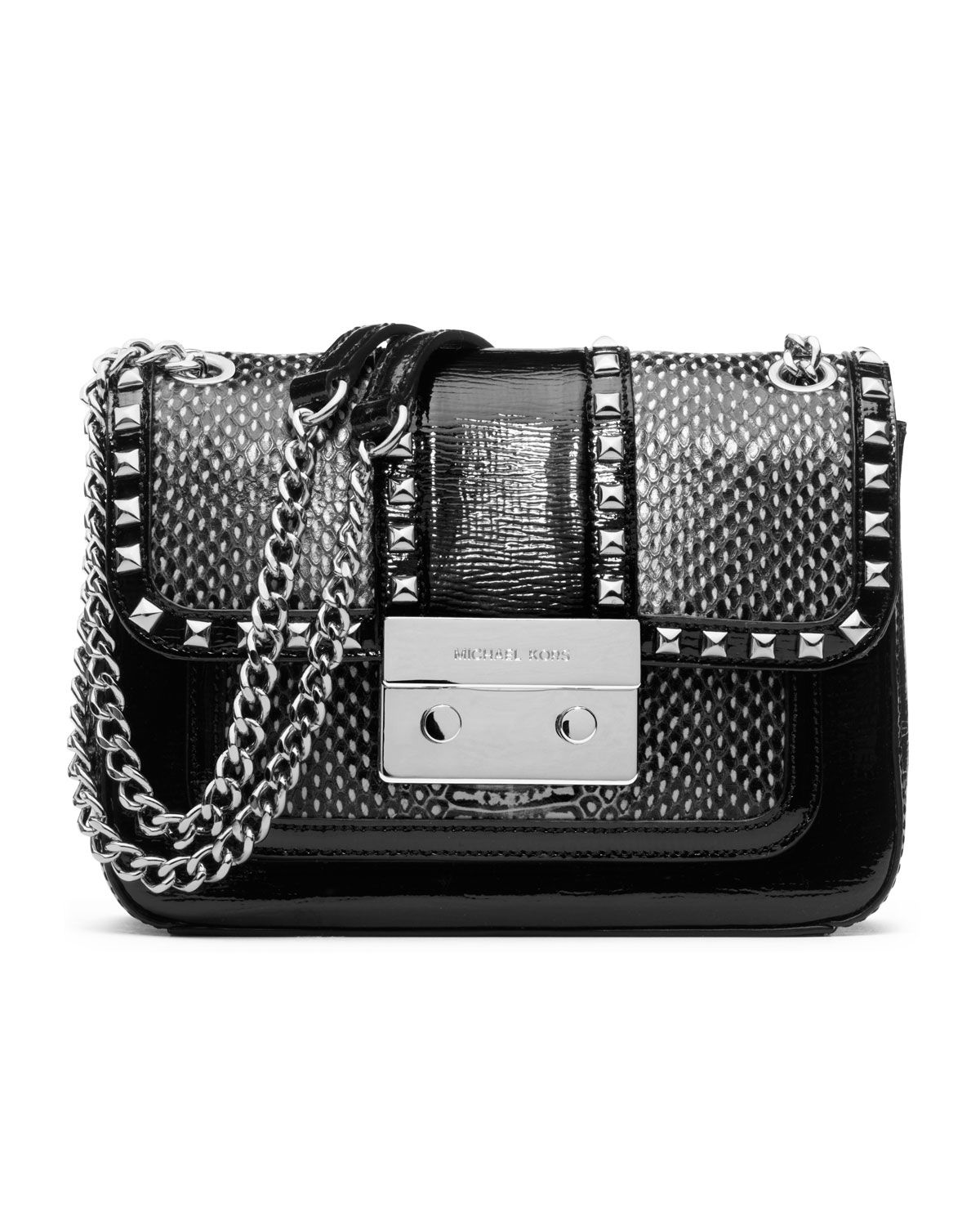 dca99b9361 ... amazon lyst michael michael kors small sloan studded shoulder flap bag  in 98be5 983e3