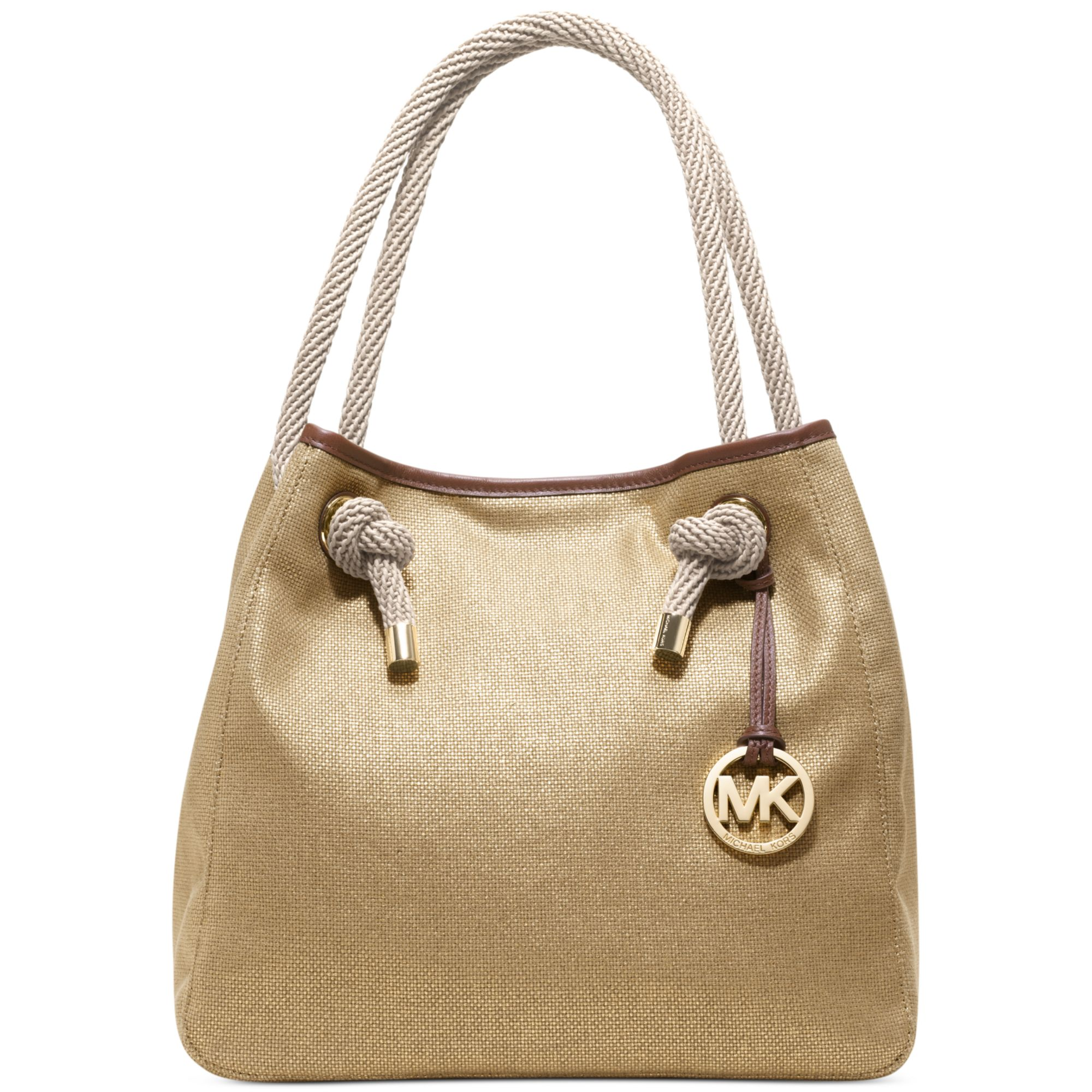 b3408699c29d ... sale lyst michael kors marina large grab bag in metallic 4fb97 c67a9