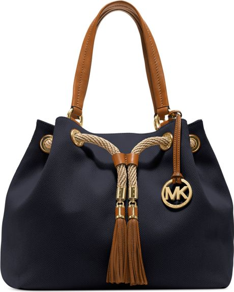 Michael Kors Marina Large Gathered Tote in Blue (NAVY)
