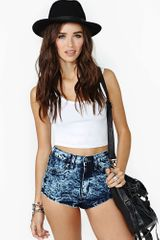 Nasty Gal Acid Heart Denim Shorts - Lyst