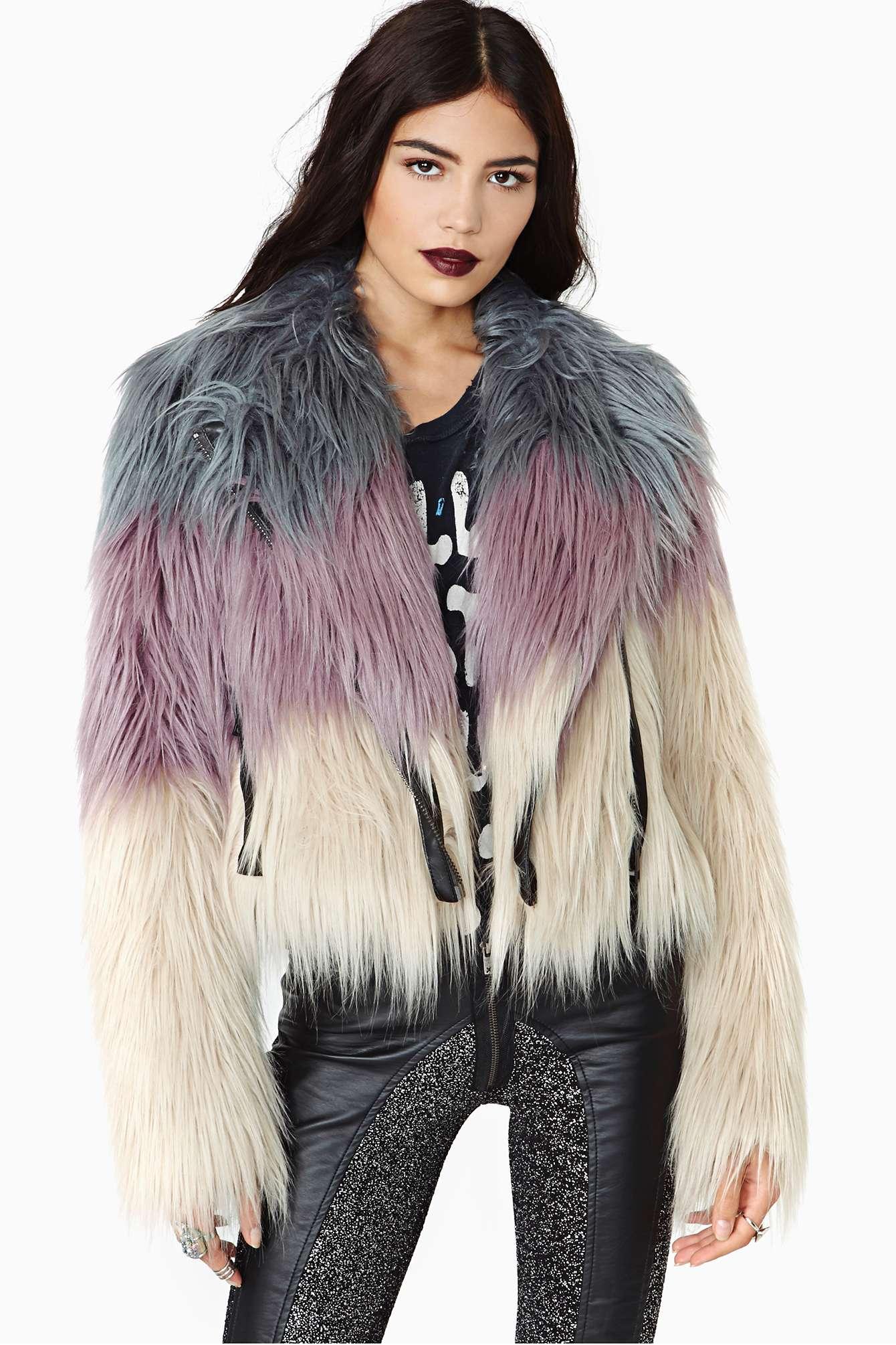 Lyst Nasty Gal Chaser Dreamer Faux Fur Moto Jacket In Purple