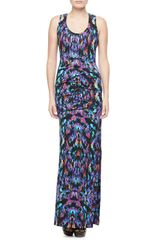 Nicole Miller Printed Scoopneck Maxi Dress - Lyst