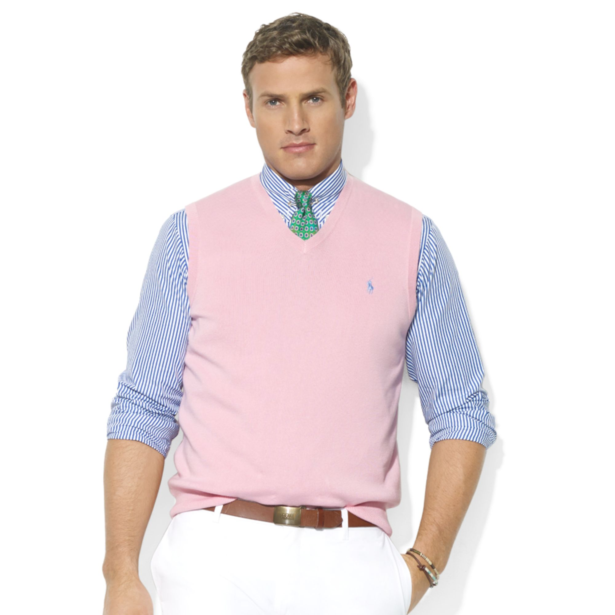 Ralph lauren V-Neck Pima Cotton Sweater Vest in Pink for Men | Lyst