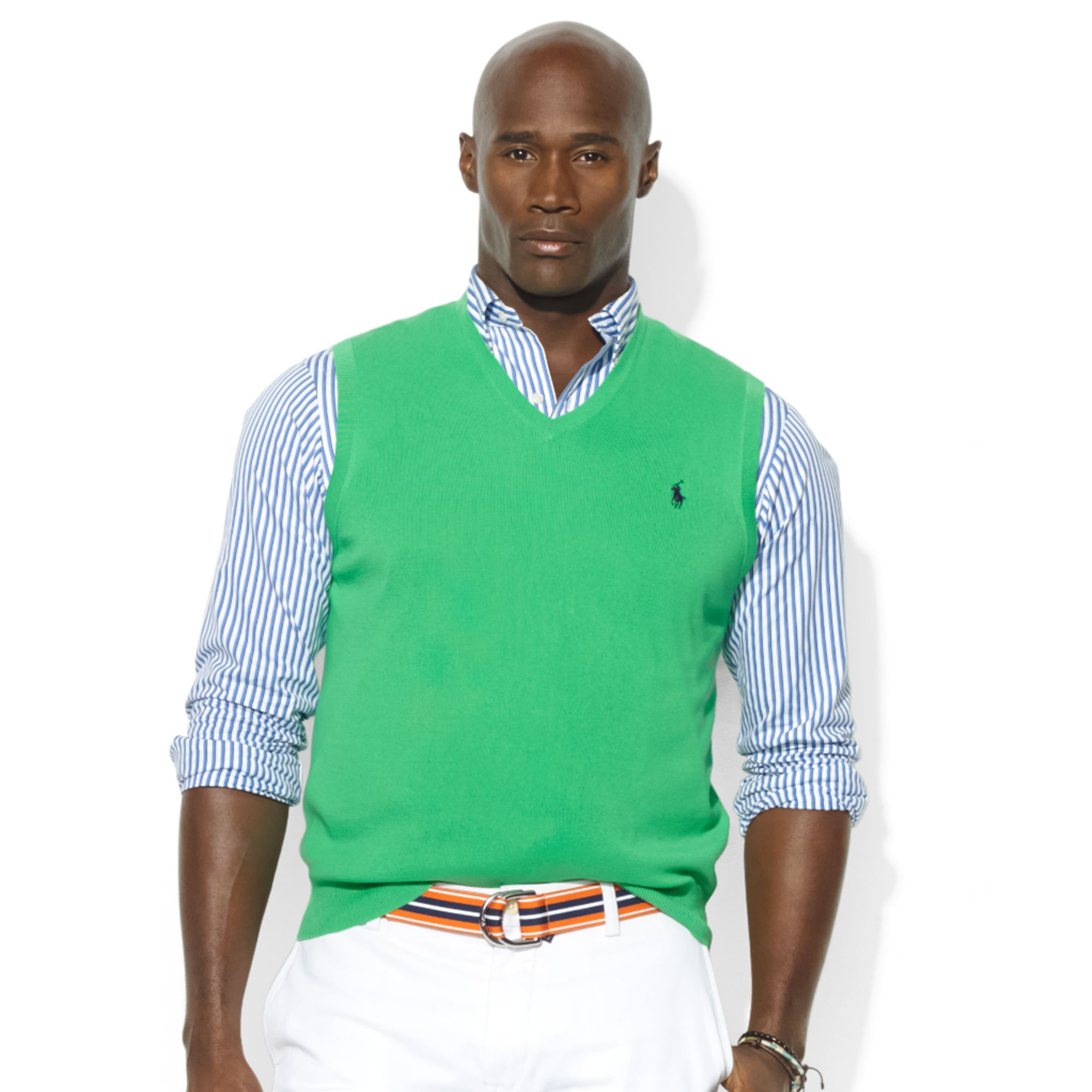 Ralph lauren Vneck Pima Cotton Sweater Vest in Green for Men | Lyst