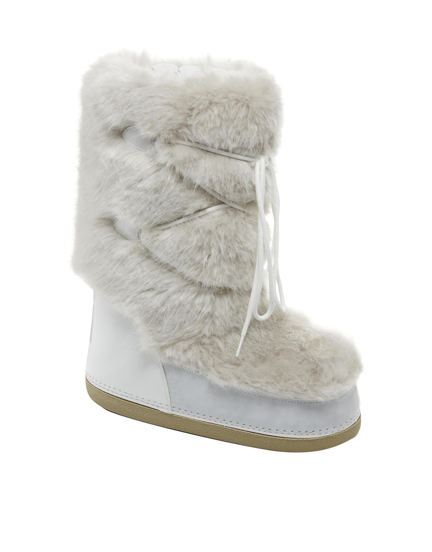 asos barts white faux fur snow boots in white lyst