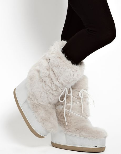 Asos Barts White Faux Fur Snow Boots in White | Lyst