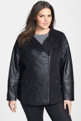 Steve Madden Faux Leather Twill Asymmetrical Jacket - Lyst