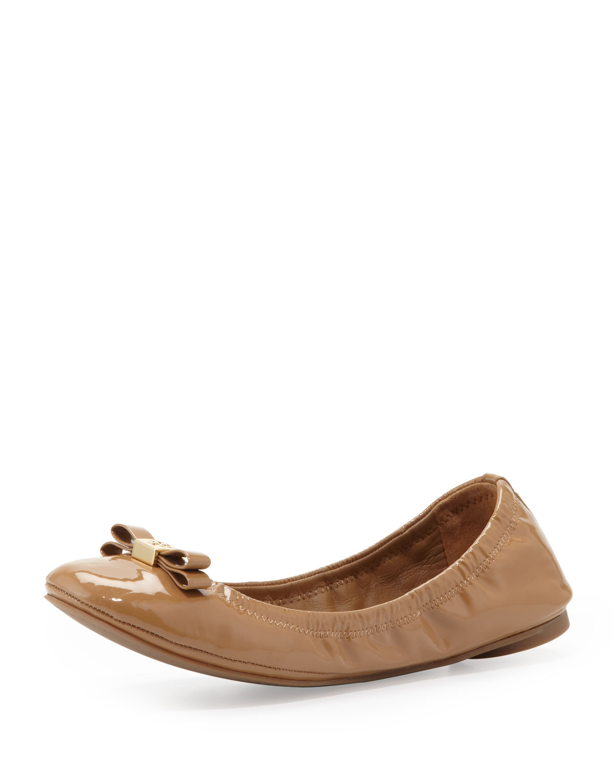 tory burch eddie 2 patent bow ballerina flat sand in brown sand lyst. Black Bedroom Furniture Sets. Home Design Ideas