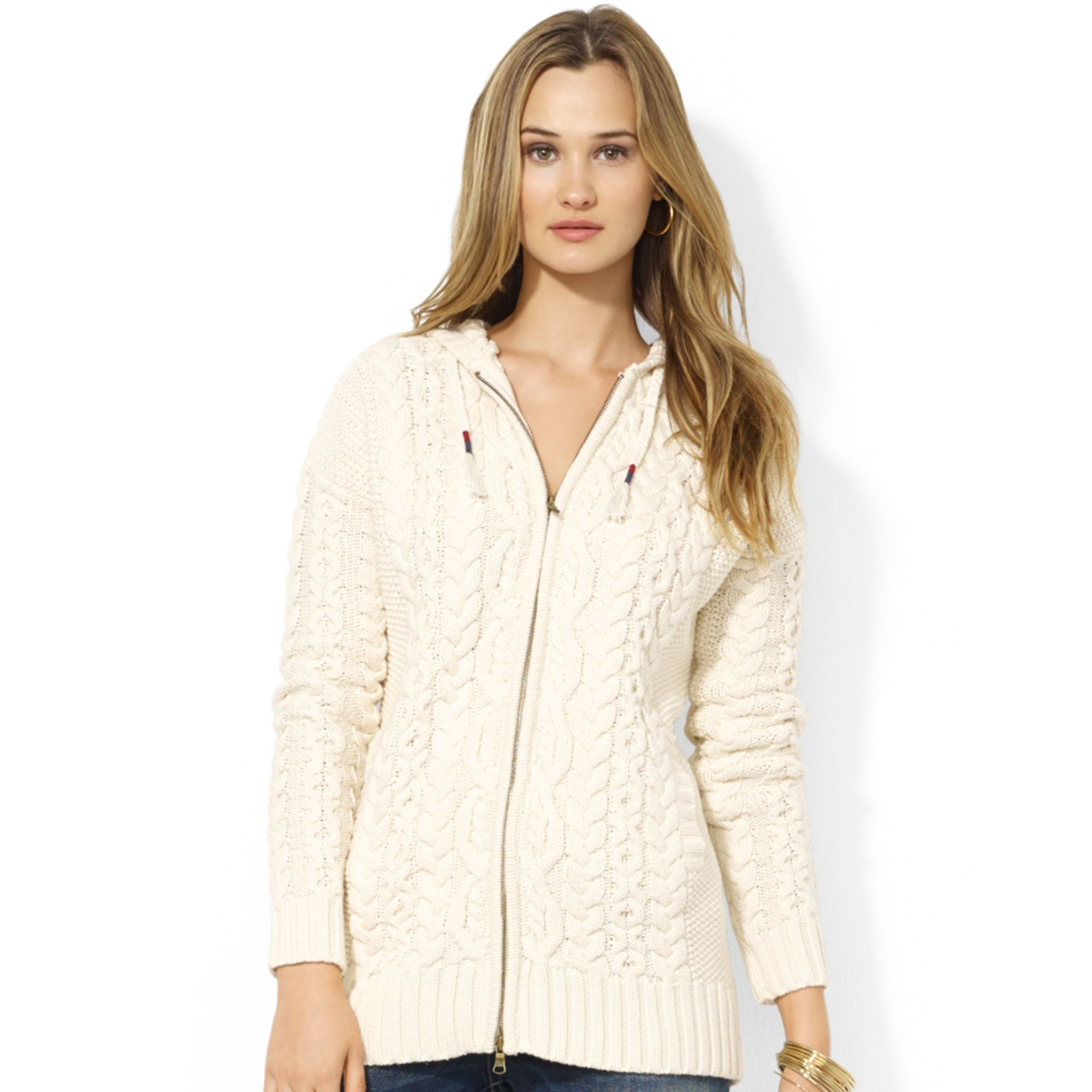 Lauren by ralph lauren Lauren Jeans Co Cableknit Zipup Hooded ...