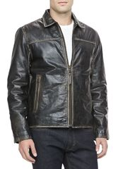 Andrew Marc Distressed Leather Moto Jacket Black - Lyst