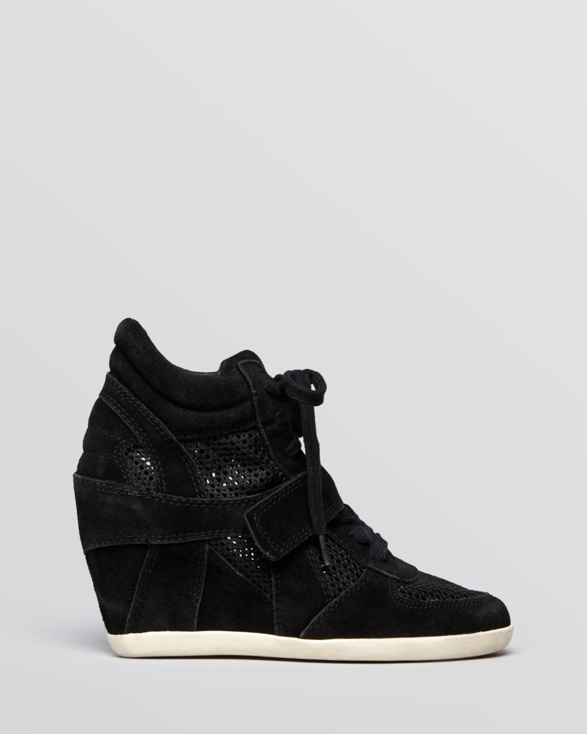 Lyst Ash Lace Up High Top Wedge Sneakers Bowie Mesh In Black