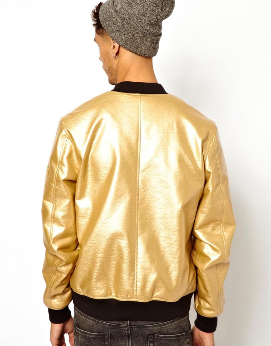 Gold Bomber Jacket - JacketIn