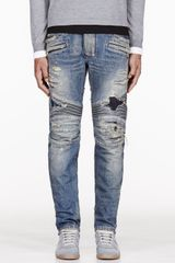 Balmain Blue Destroyed Biker Jeans - Lyst