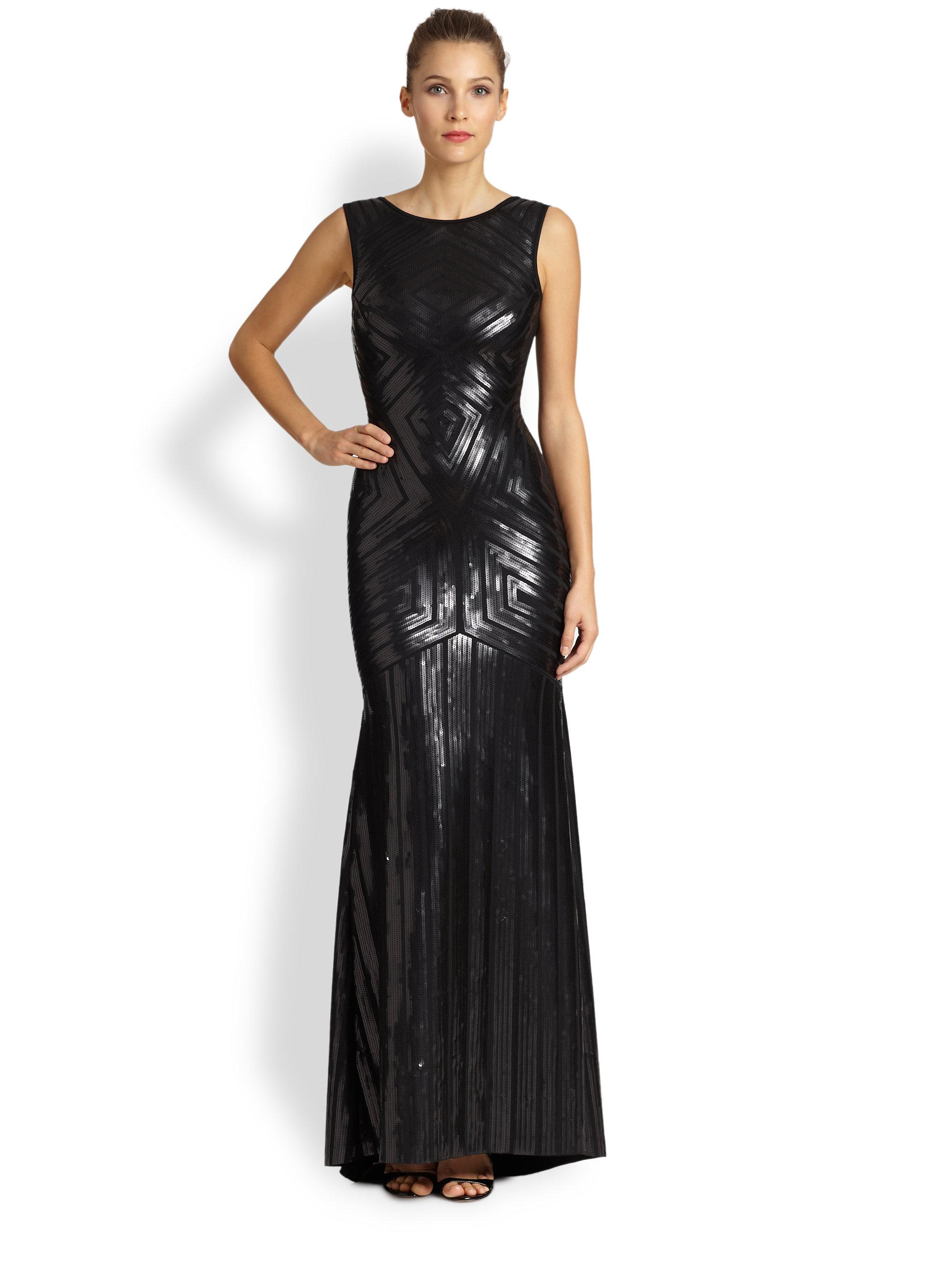 Lyst - Bcbgmaxazria Agne Sequin Gown in Black
