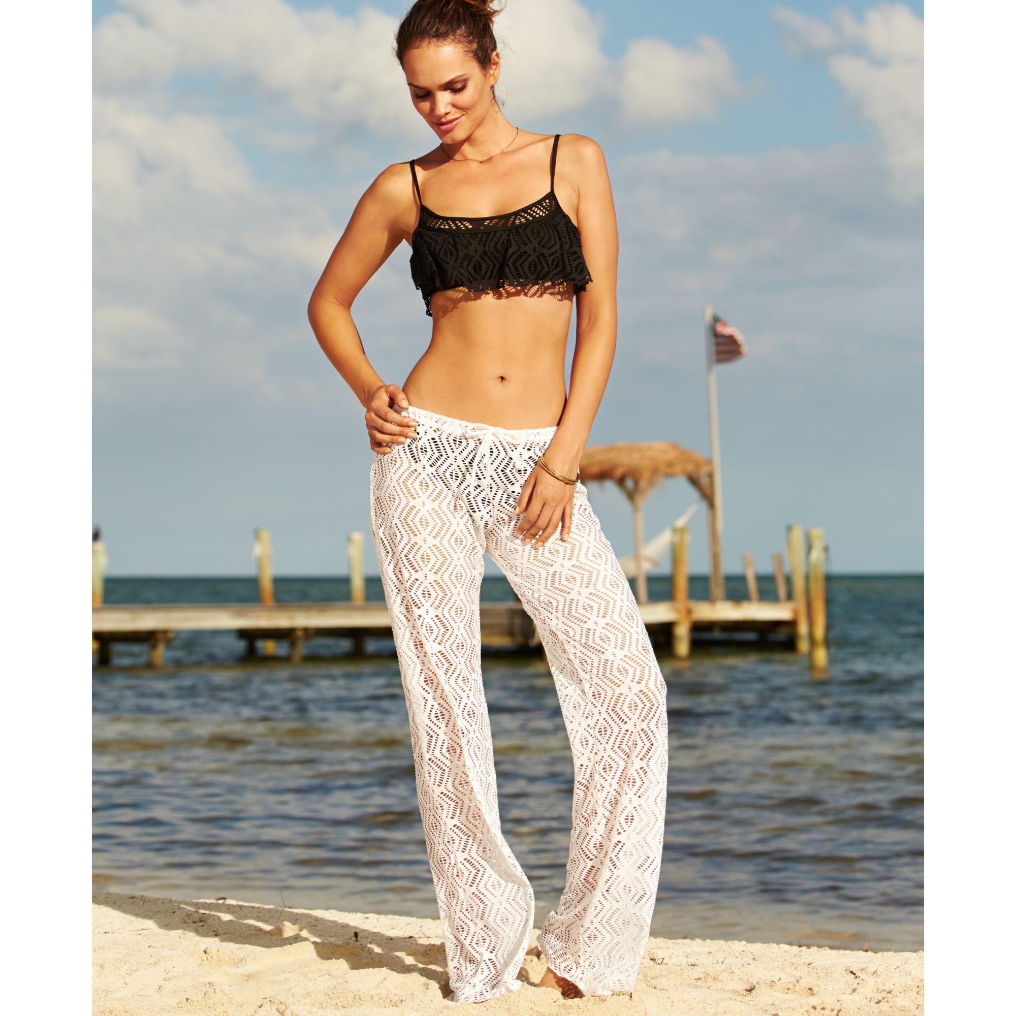 Becca Crochet Cover Up Pants In White Lyst