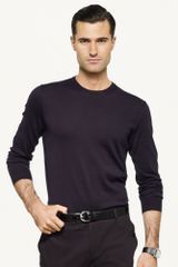 Black Label Cotton Crewneck Sweater - Lyst
