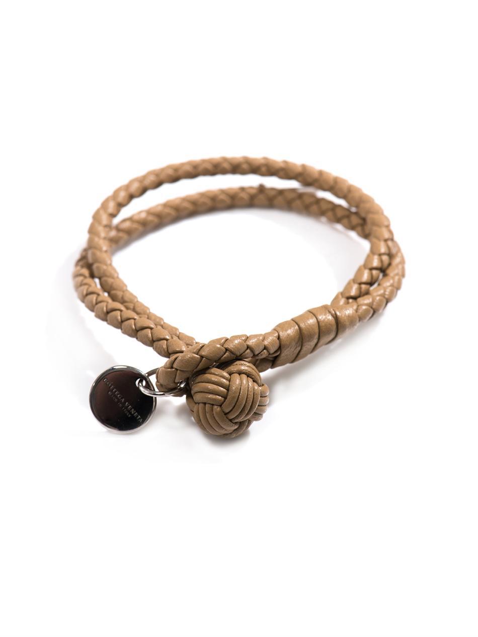 fe5bef2d9768a8 Bottega Veneta Double Woven Leather Bracelet in Brown - Lyst