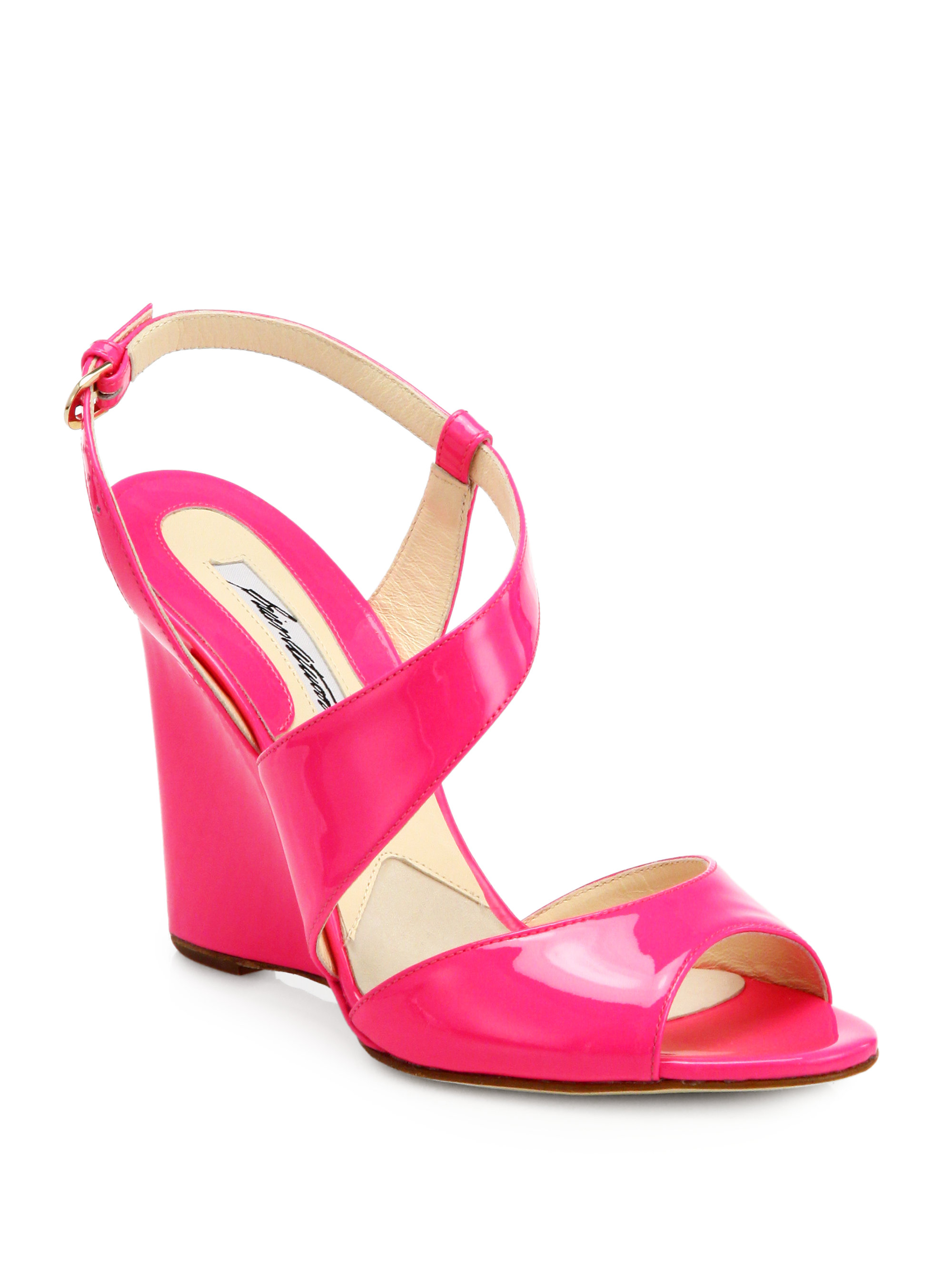 Brian Atwood Anabel Patent Leather Wedge Sandals In Pink