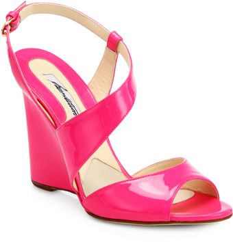 Brian Atwood Anabel Patent Leather Wedge Sandals - Lyst