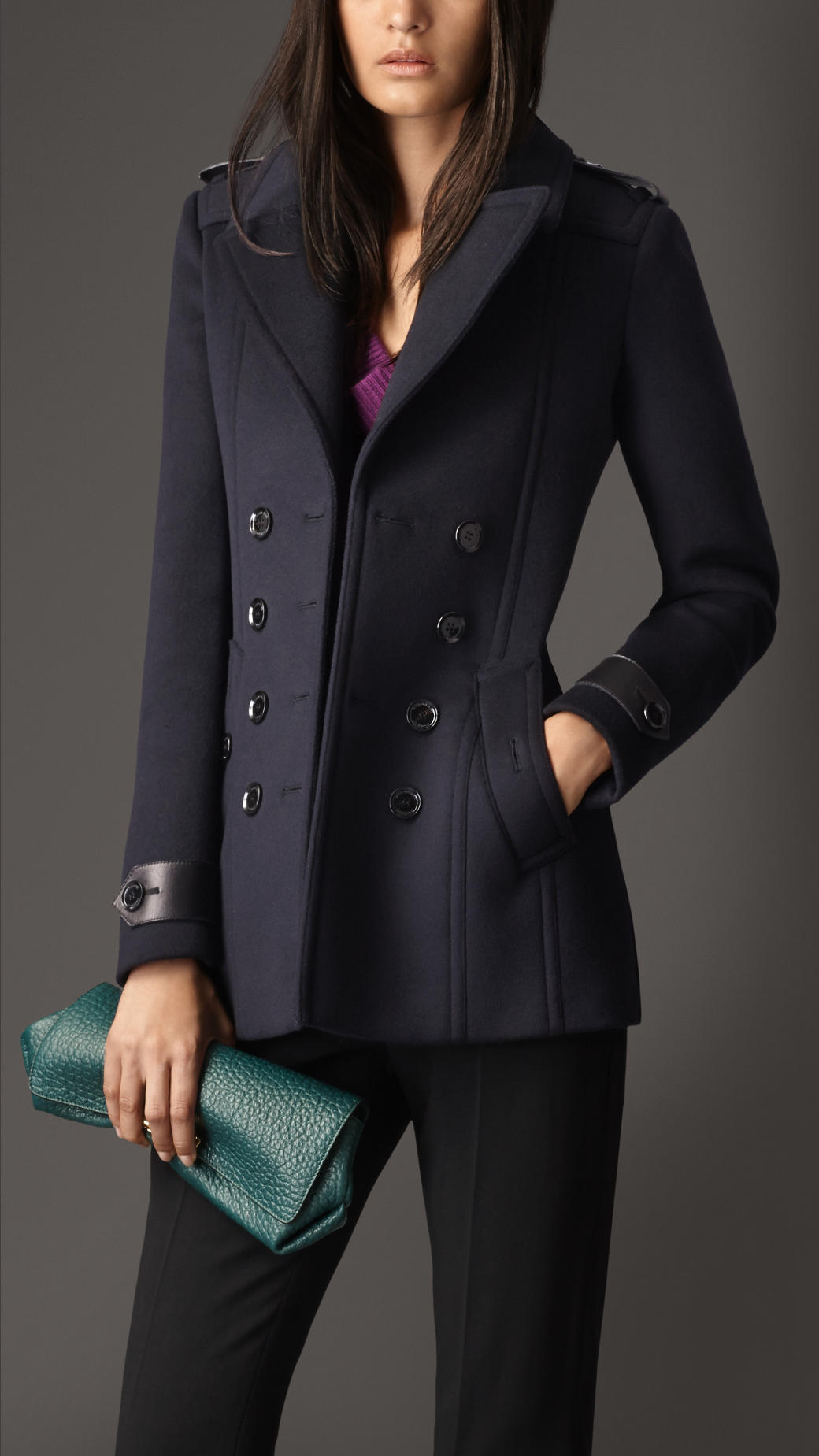 Burberry Tailored Wool Cashmere Pea Coat in Blue | Lyst