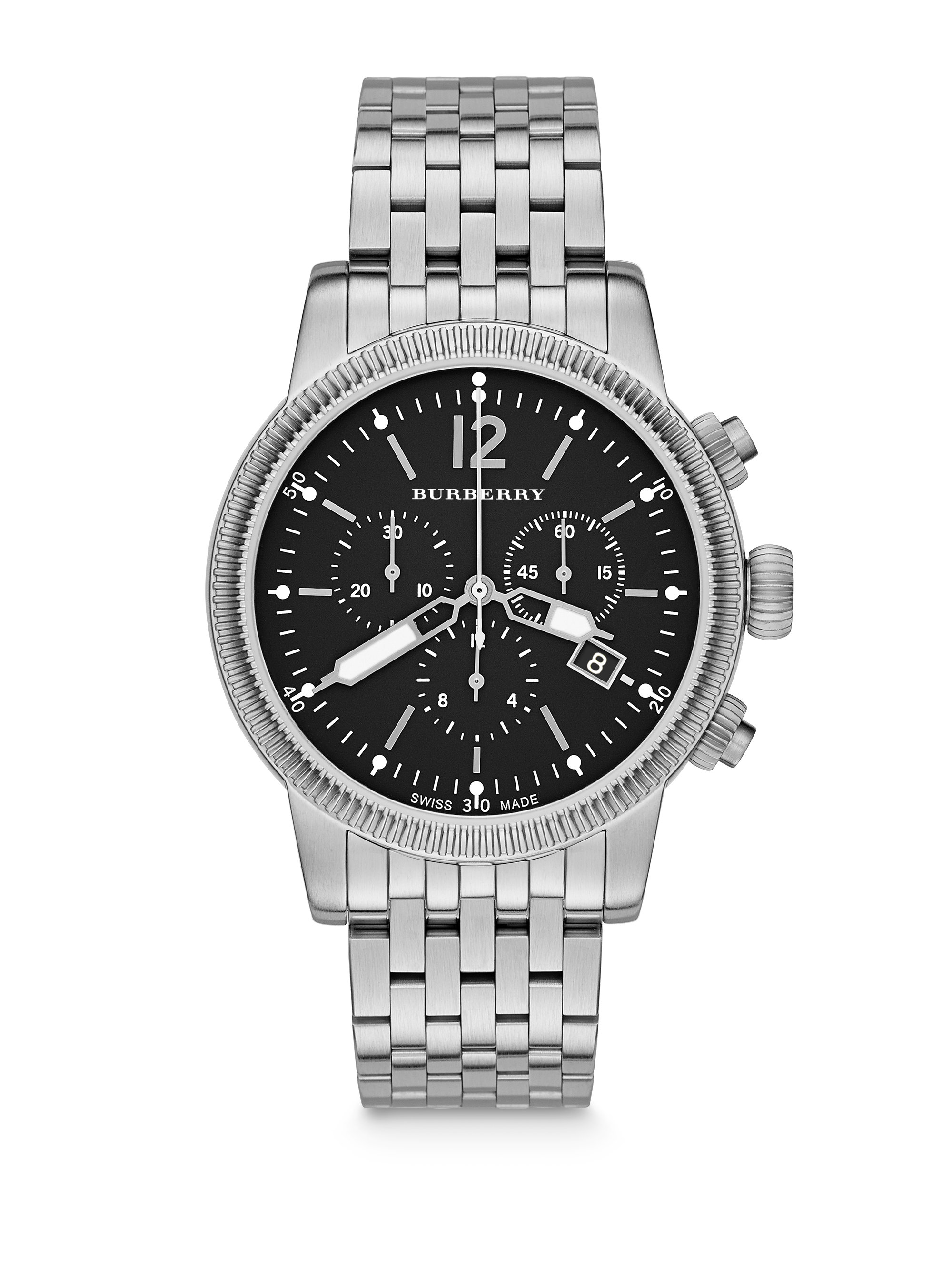 69c5da2e8 Burberry Polished Stainless Steel Chronograph Watch in Metallic for ...