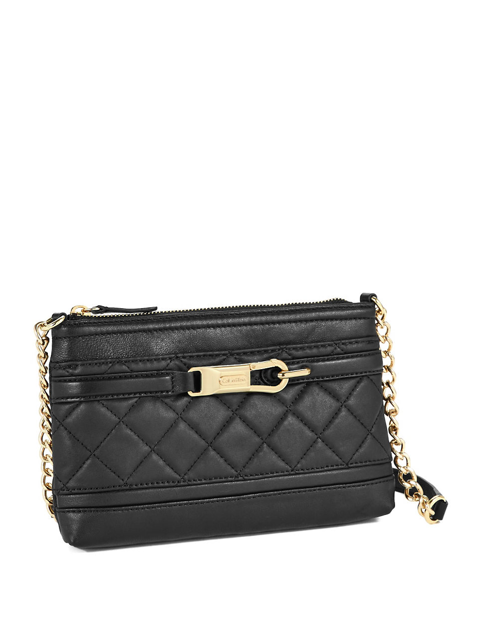 Lyst Calvin Klein Quilted Leather Crossbody Bag In Black