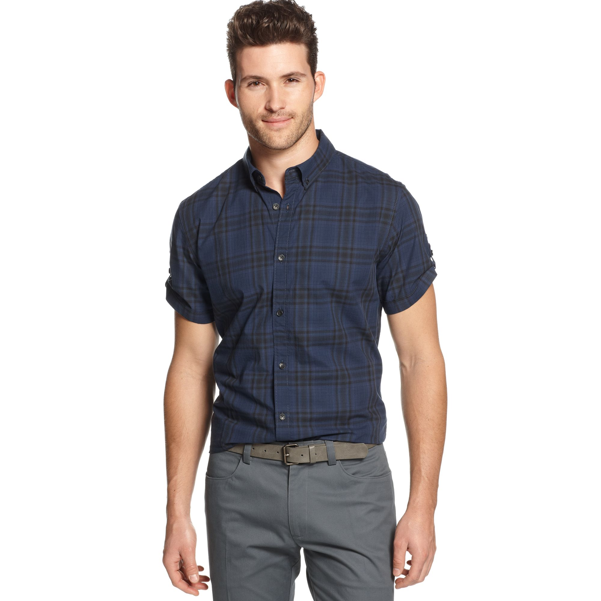 Lyst - Calvin klein jeans Short Sleeve Plaid Button D.own Shirt in ...