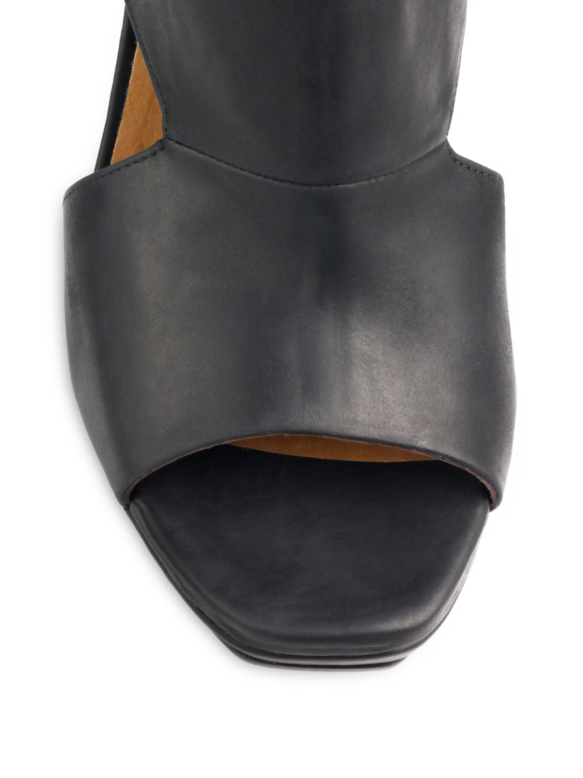 Lyst Coclico Farlen Leather Peep Toe Booties In Black