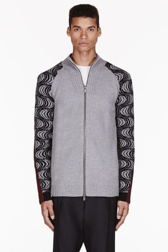 Damir Doma Grey Patterned Sleeve Kaica Cardigan - Lyst