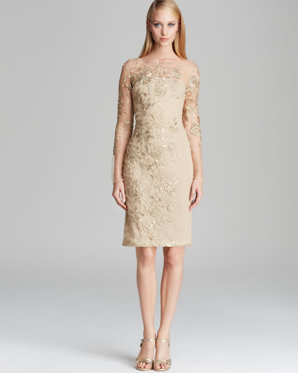 David Meister Dress Illusion Neckline Shimmer Knit Metallic Lace in ...