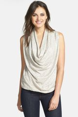 DKNY Sequin Sleeveless Drape Front Top - Lyst