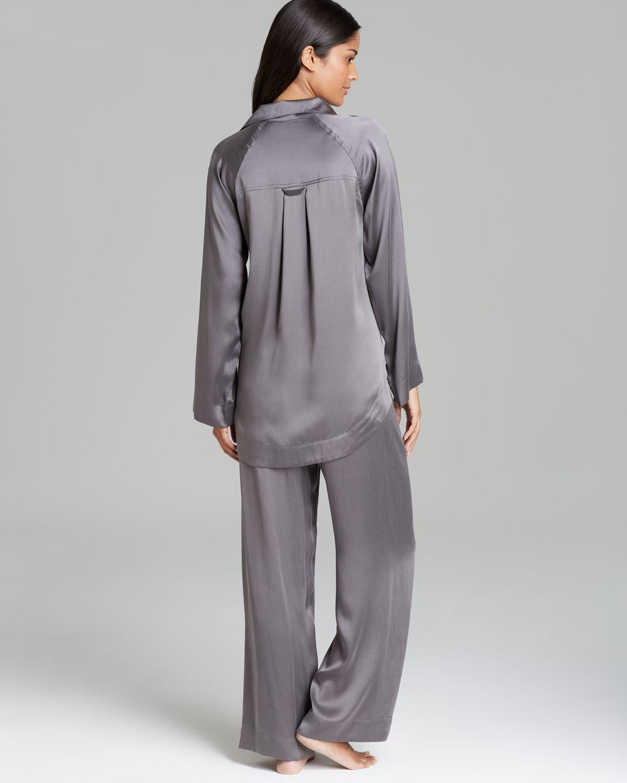 Lyst - Donna Karan Glamour Silk Pajama Set in Gray 848698977
