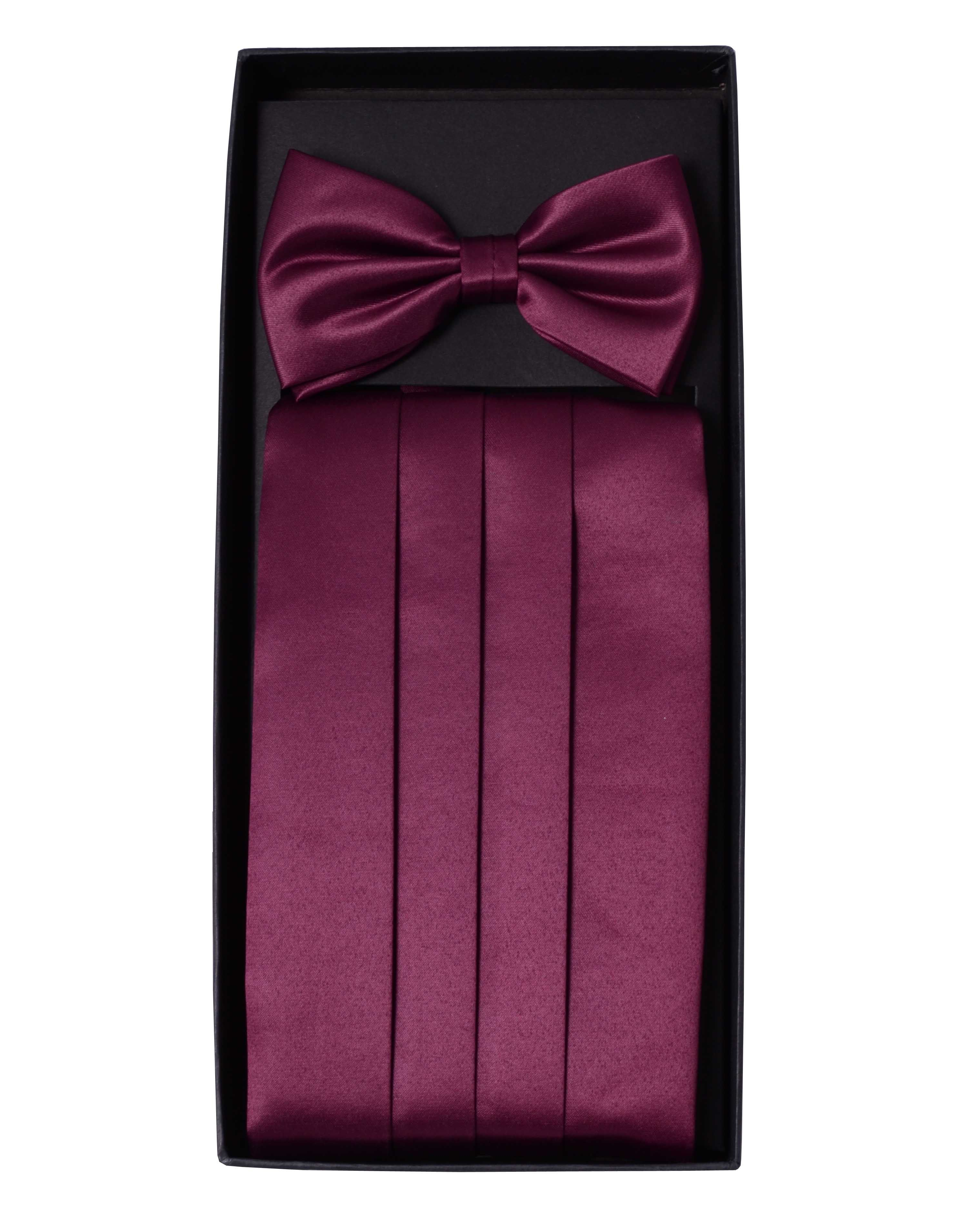 two plain bow tie and cummerbund set in for