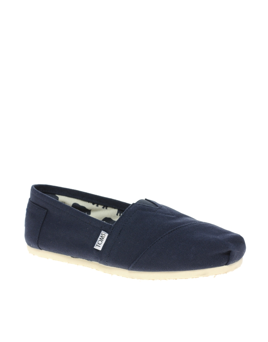 toms classic canvas flat shoes in blue lyst