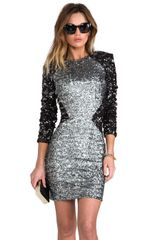 Dress The Population X Revolve Kim Sequin Illusion Dress in Metallic Silver - Lyst