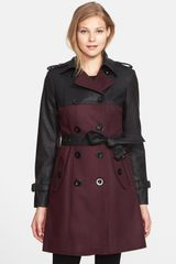 Gallery Faux Leather Wool Blend Trench Coat - Lyst