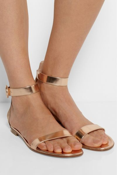 Gianvito Rossi Metallic Leather Sandals In Gold Rose Gold