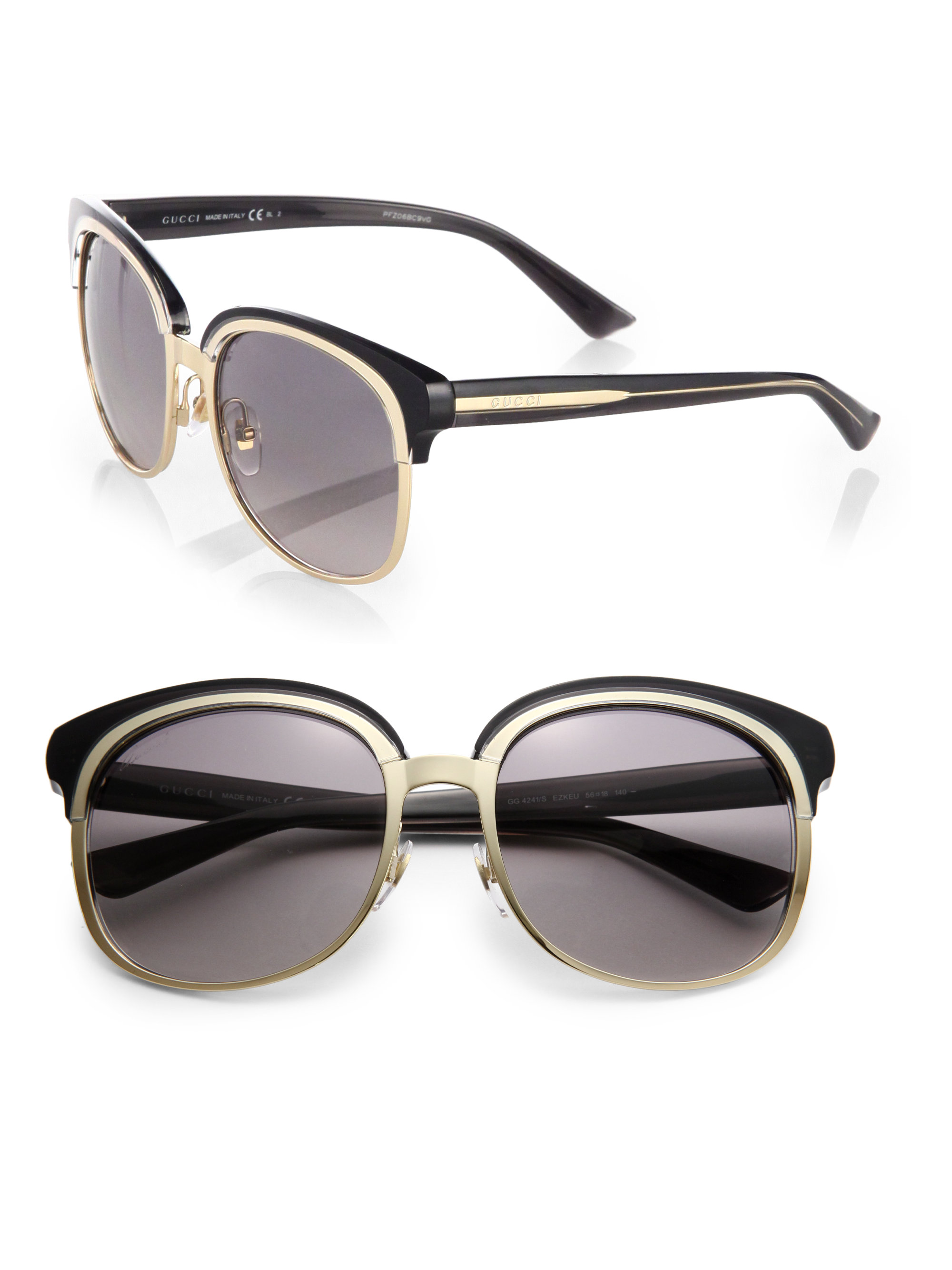 87aa3bc7cc Gucci Oversize Round-frame Metal Sunglasses