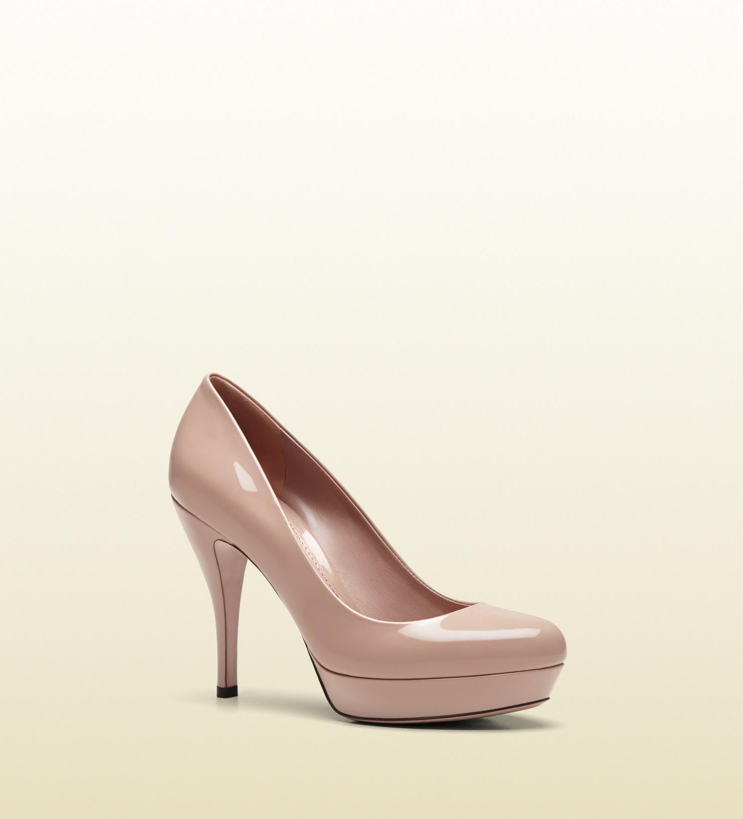Lyst Gucci Light Pink Patent Leather Midheel Platform