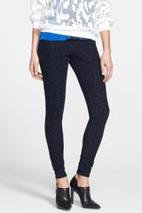 Hue Lean Clean Flocked Leopard Print Denim Leggings - Lyst