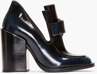 Jil Sander Black and Blue Buckled Runway Loafers - Lyst