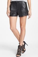Joe's Tulip Pleated Leather Shorts - Lyst