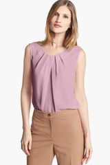 Jones New York Collection Abby Pleat Neck Blouse - Lyst