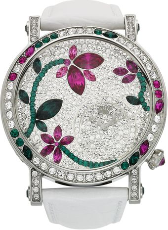 Juicy Couture Womens Queen Couture White Crocembossed Leather Strap Watch 42mm - Lyst